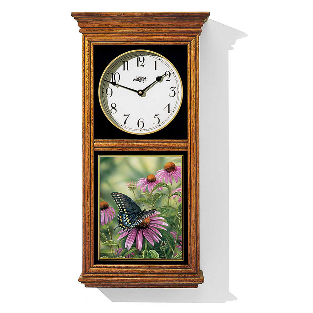 Black Swallowtail Butterfly Oak Wood Regulator Clock | Wild Wings | 5982662385