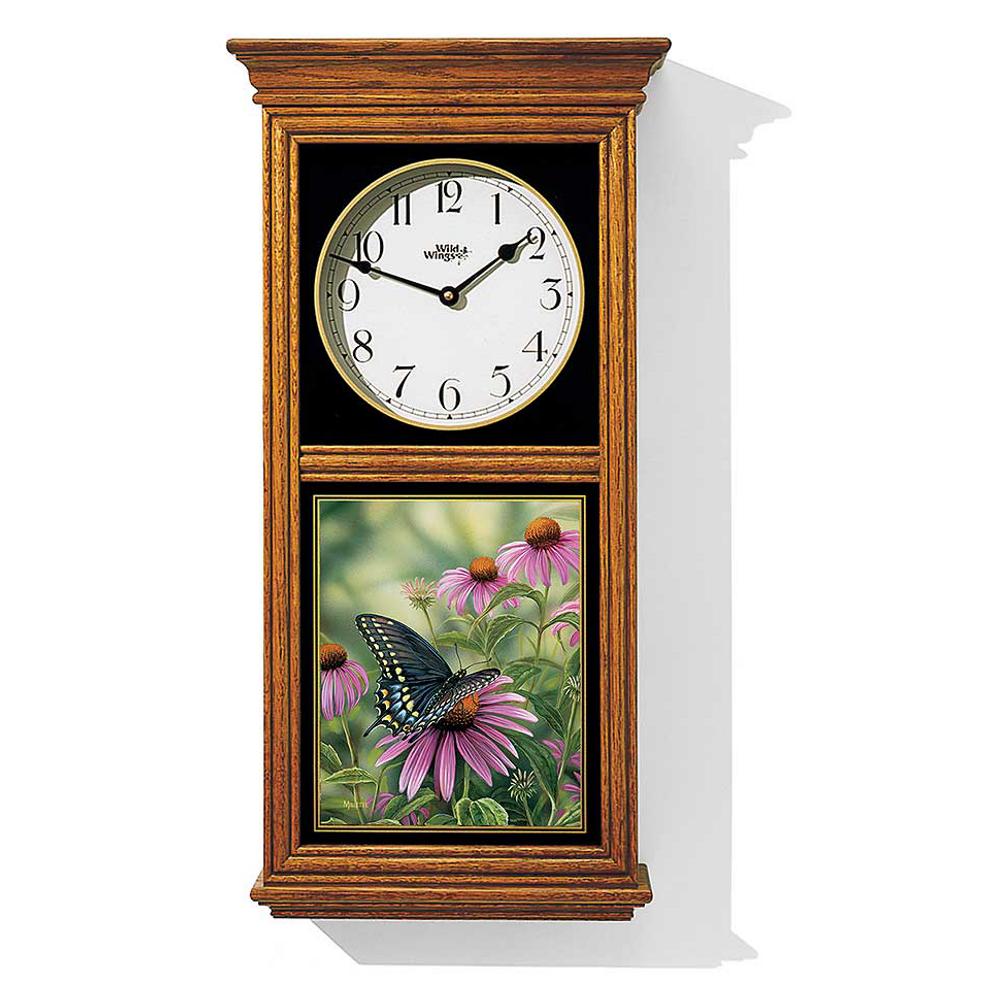 Black Swallowtail Butterfly Oak Wood Regulator Clock | Wild Wings | 5982662385