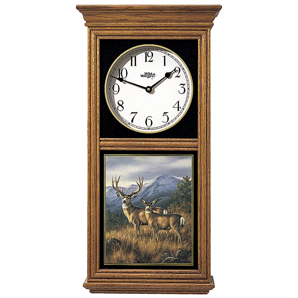 Deer Oak Wood Regulator Clock   Crossing the Ridge   Wild Wings   5982662465
