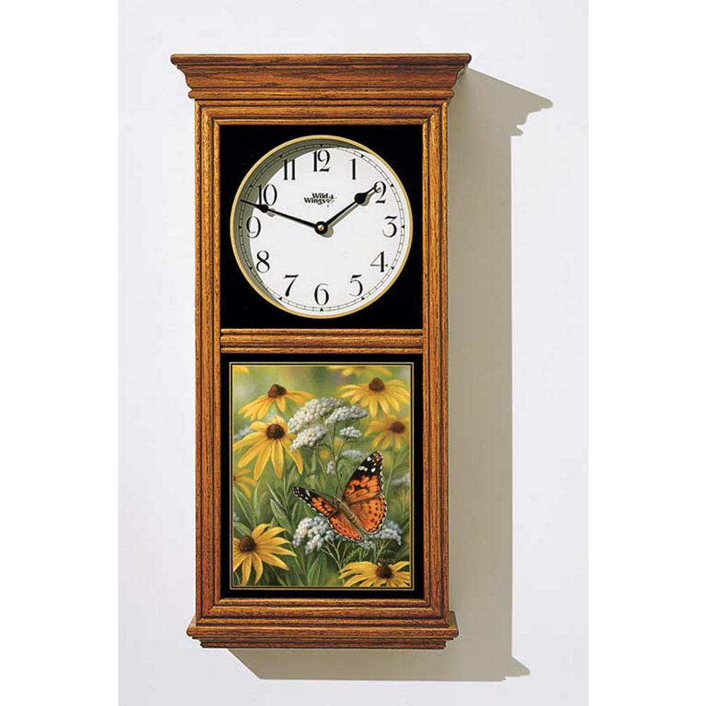 Painted Lady Butterfly Oak Wood Regulator Clock   Wild Wings   5982662485