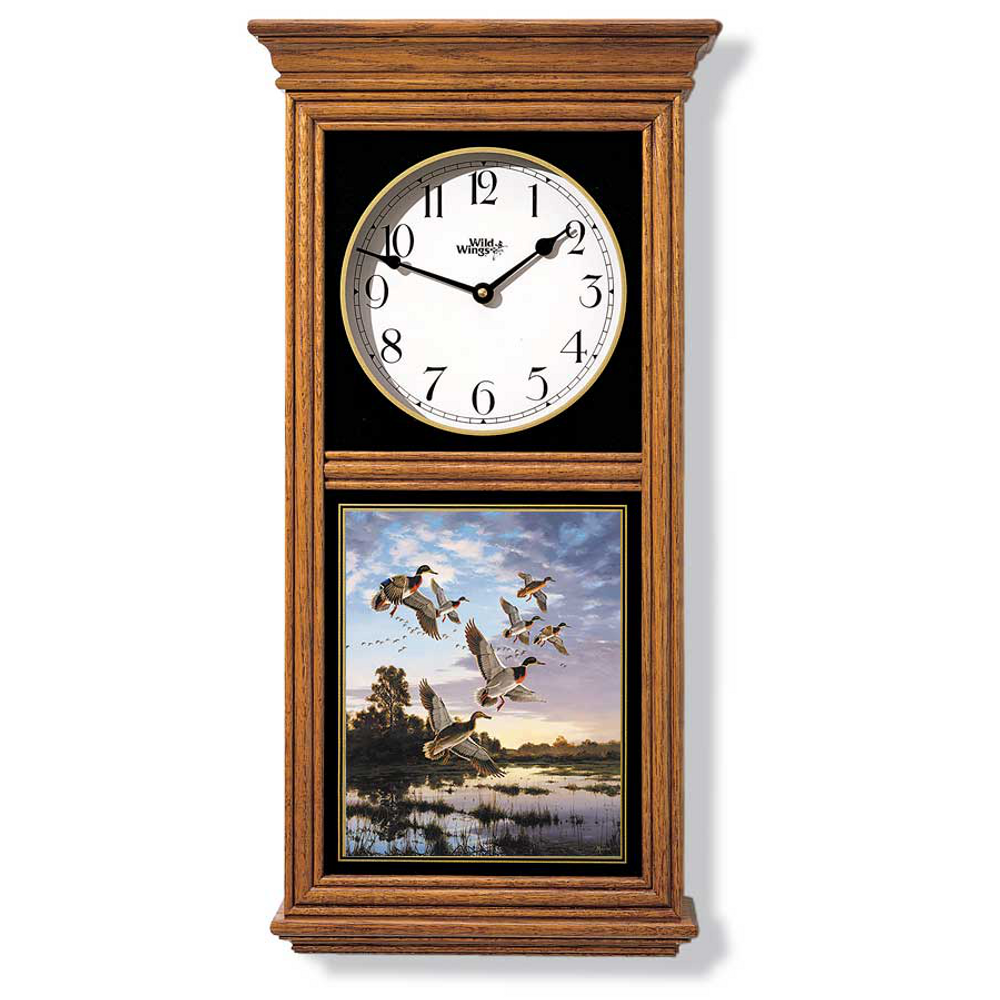 Mallard Duck Oak Wood Regulator Wall Clock | Wild Wings | 5982662501