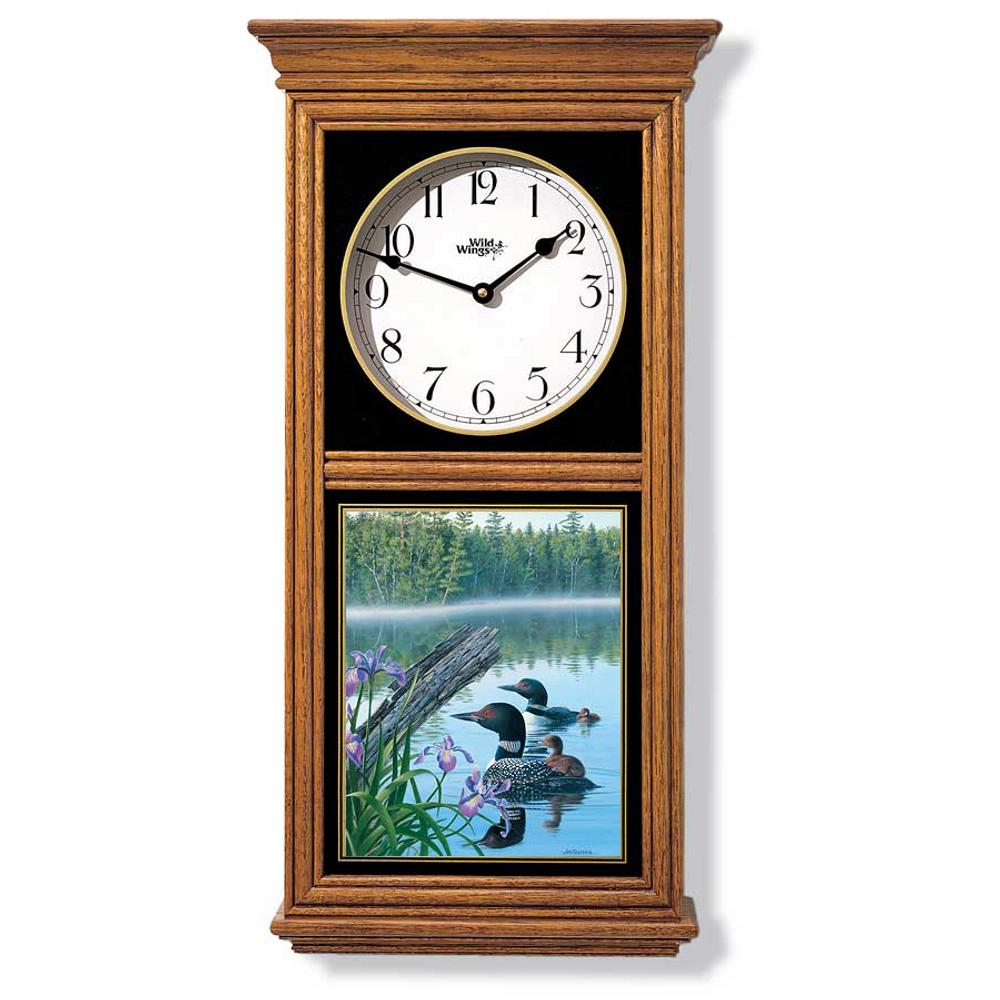 Loon Oak Wood Regulator Wall Clock | Wild Wings | 5982662510