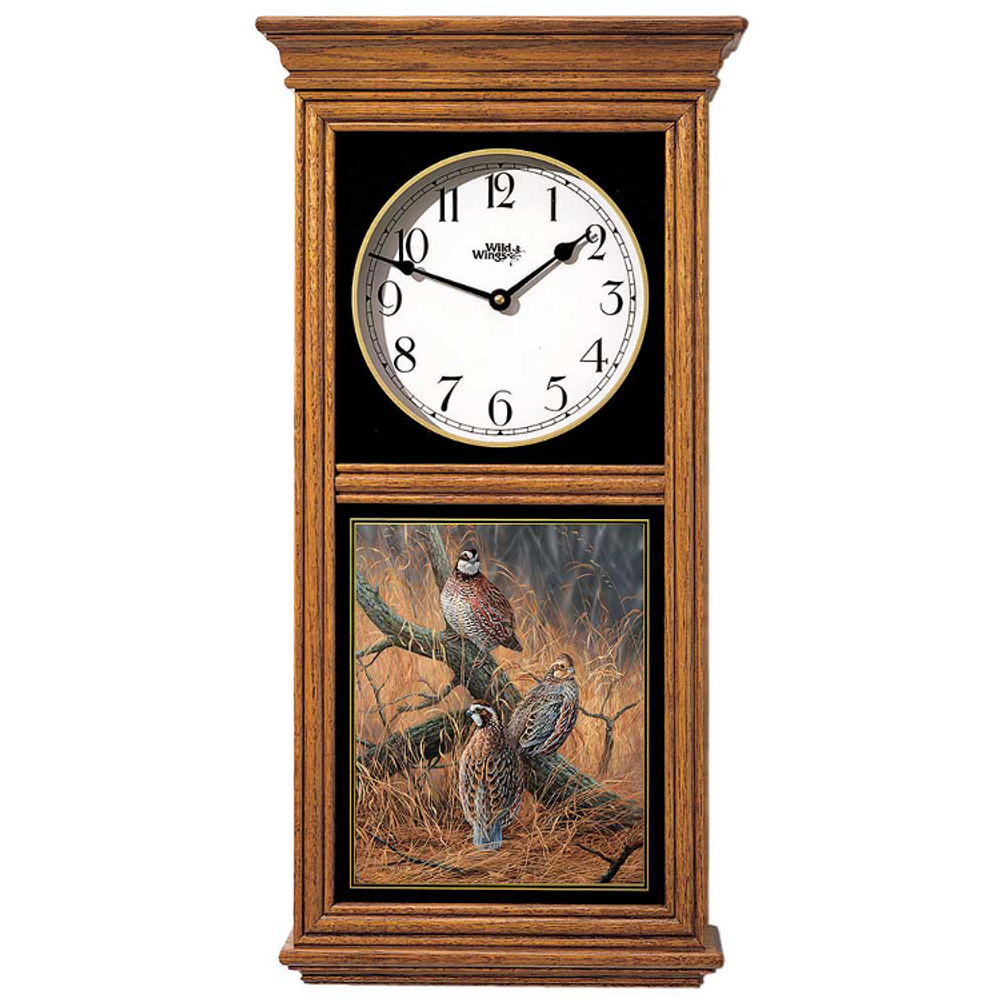 Bobwhite Quail Oak Wood Regulator Wall Clock | Wild Wings | 5982662518