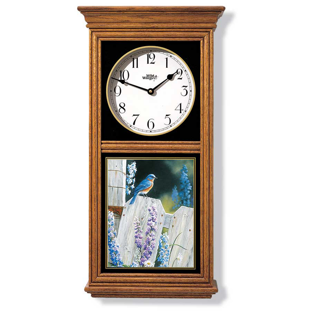Bluebird Oak Wood Regulator Wall Clock | Wild Wings | 5982662538