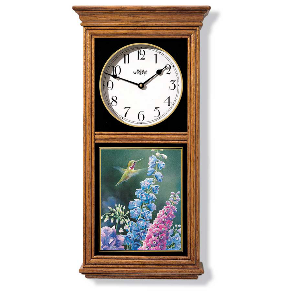 Hummingbird Oak Wood Regulator Wall Clock | Wild Wings | 5982662541