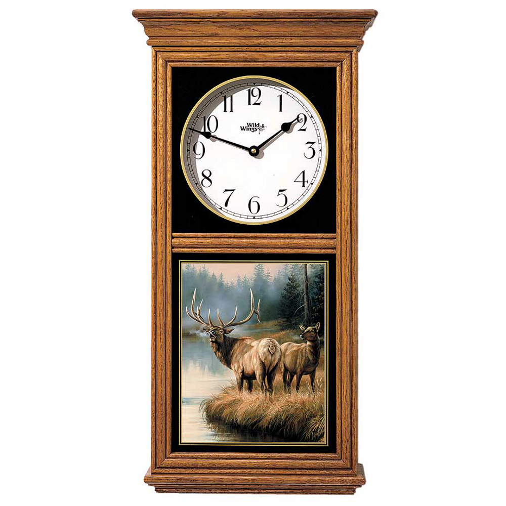 Elk Oak Wood Regulator Wall Clock | Wild Wings | 5982662566