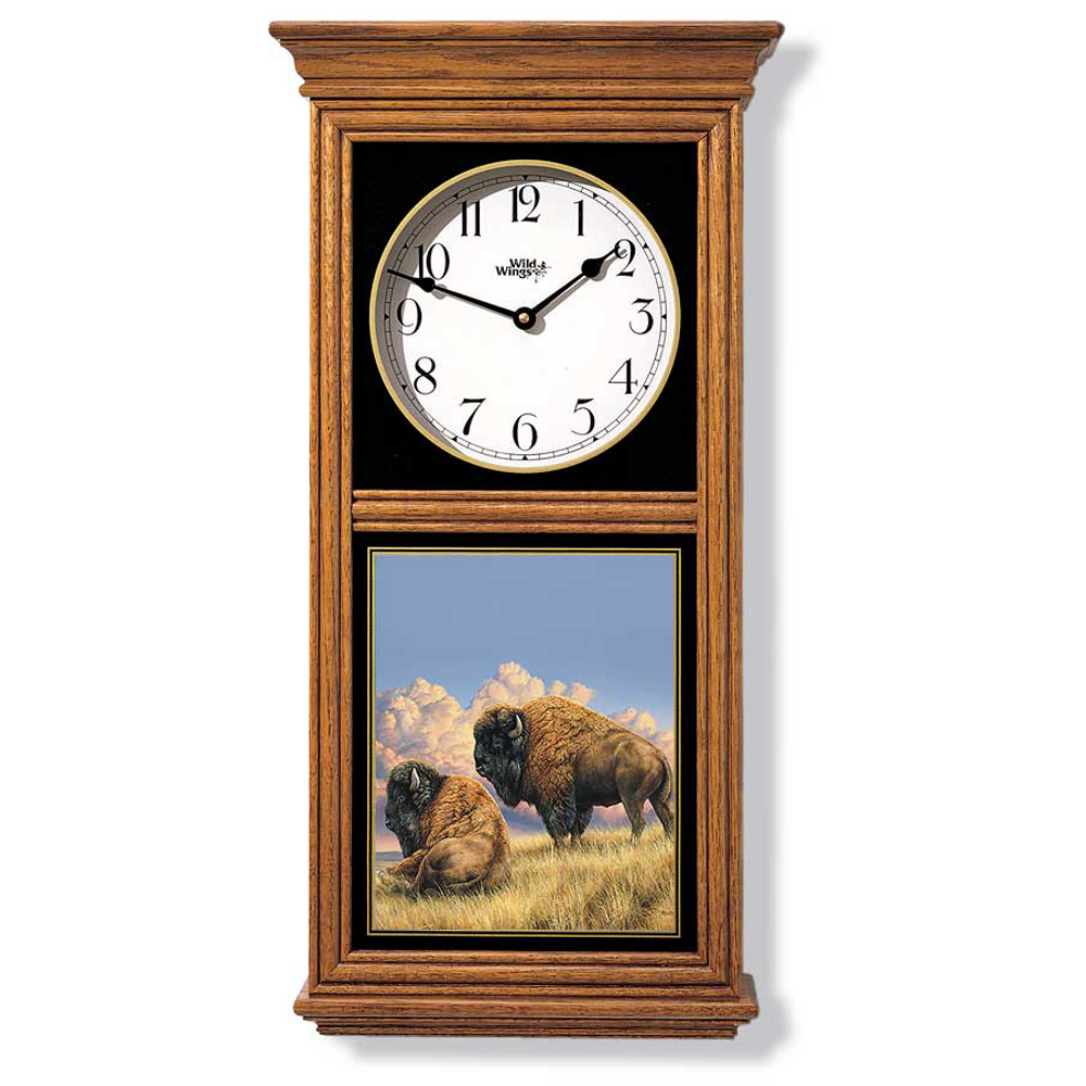 Bison Oak Wood Regulator Wall Clock | Wild Wings | 5982662569