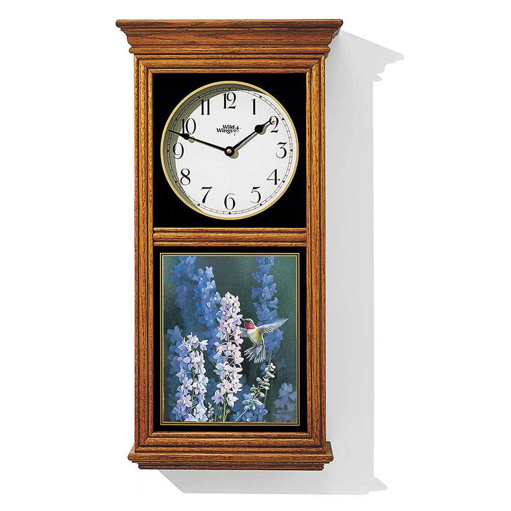 Hummingbird Oak Wood Regulator Wall Clock | Hummer in Delphinium | Wild Wings | 5982662641