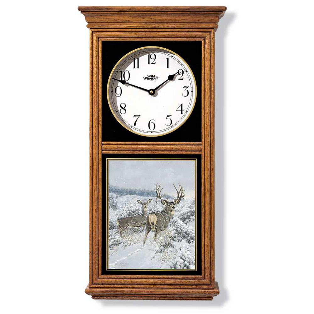 Mule Deer Oak Wood Regulator Wall Clock | Wild Wings | 5982662666