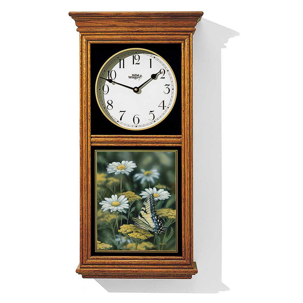 Tiger Swallowtail Butterfly Oak Wood Regulator Clock   Wild Wings   5982662685