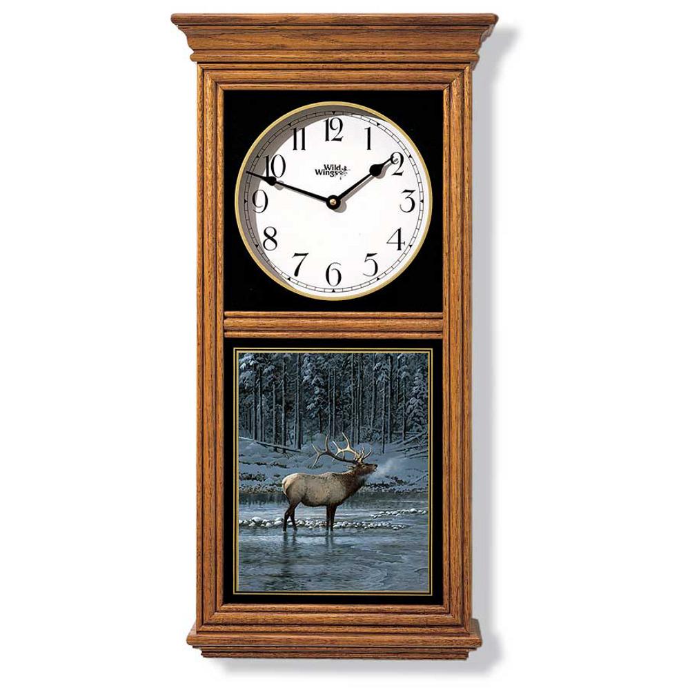 Elk in Snow Oak Wood Regulator Wall Clock | Wild Wings | 5982662766