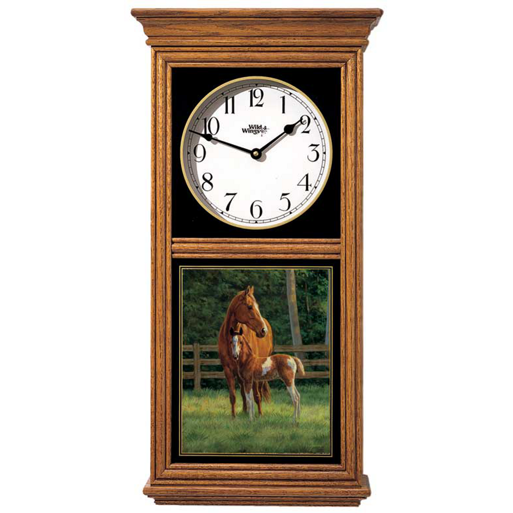 Horse Oak Wood Regulator Wall Clock | Josie | Wild Wings | 5982662781