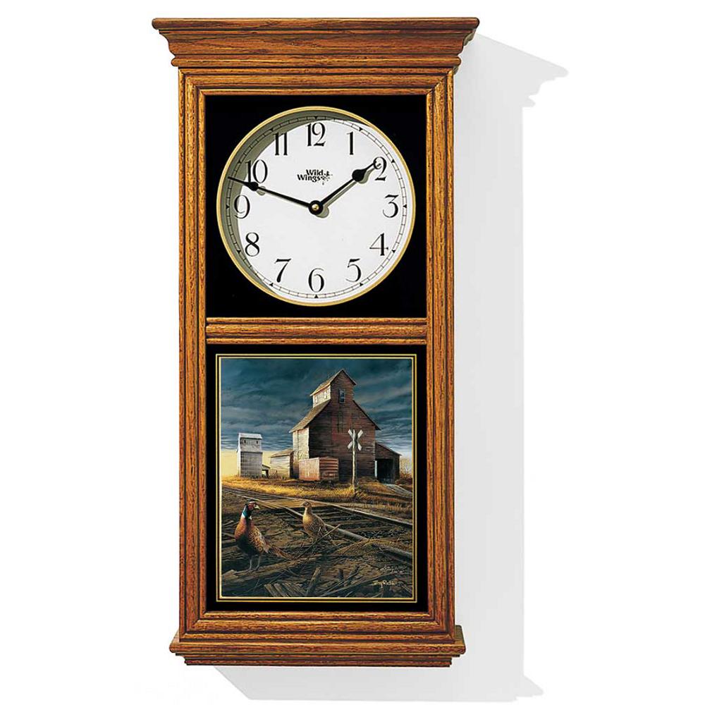 Pheasant Oak Wood Regulator Wall Clock   Prairie Skyline   Wild Wings   5982663706