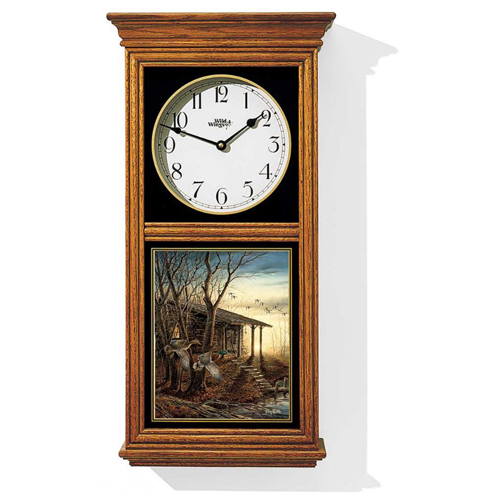 Mallard Oak Wood Regulator Wall Clock | Morning Retreat | Wild Wings | 5982663718
