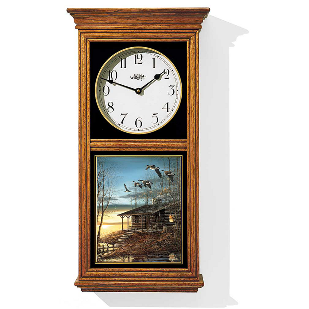 Wild Goose Oak Wood Regulator Wall Clock | Evening Retreat | Wild Wings | 5982663719
