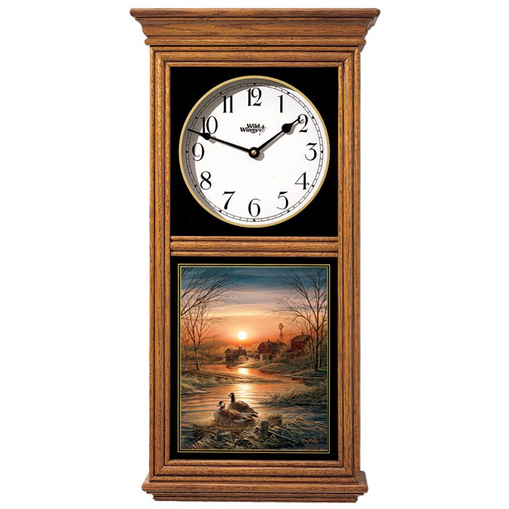 Canada Goose Oak Wood Regulator Wall Clock | Shoreline Neighbors | Wild Wings | 5982663726