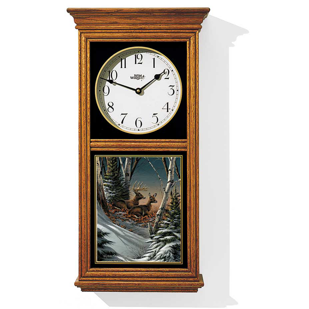 Deer Oak Wood Regulator Clock | Evening with Friends | Wild Wings | 5982663733