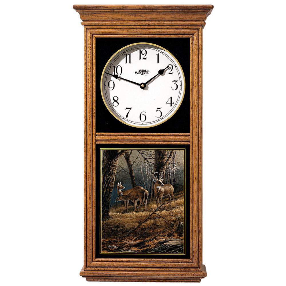 Deer Oak Wood Regulator Clock | Leaving the Sanctuary | Wild Wings | 5982663735
