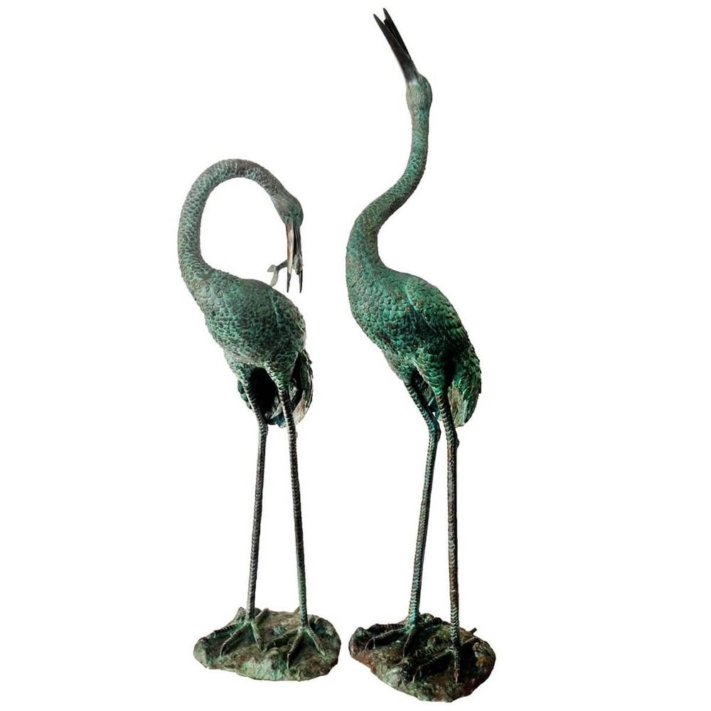 Crane Pair Bronze Fountain Statue | Metropolitan Galleries | MGISRB45715