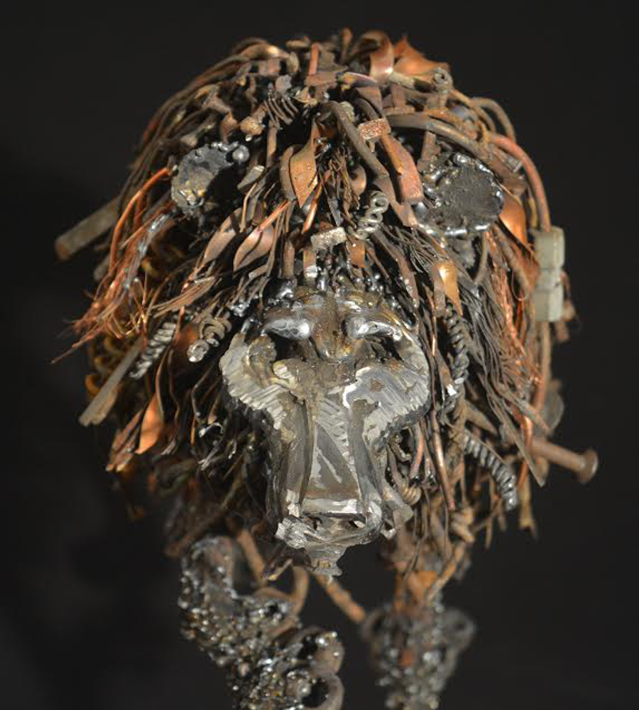 "Lion Metal and Wood Sculpture ""Looking for Trouble"" 