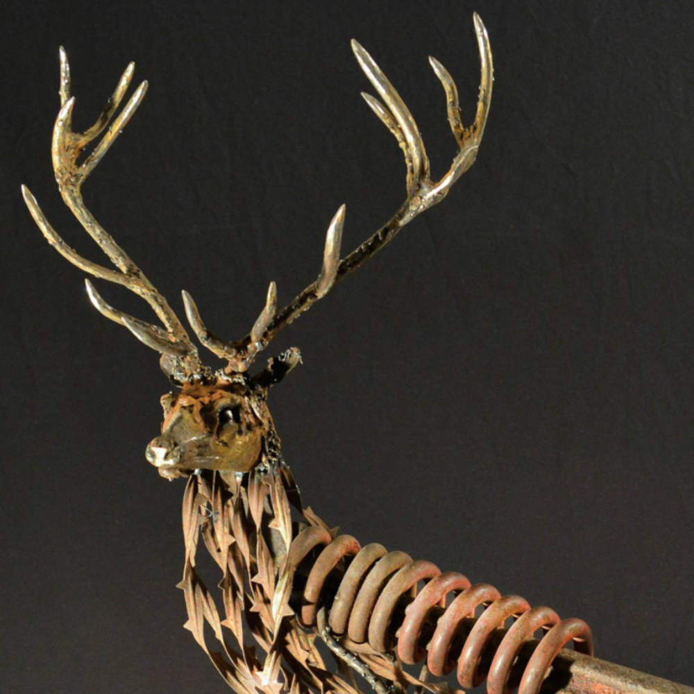 Red Stag Metal and Wood Sculpture | Royal Stare Down | Frank Cole | FCSRSD