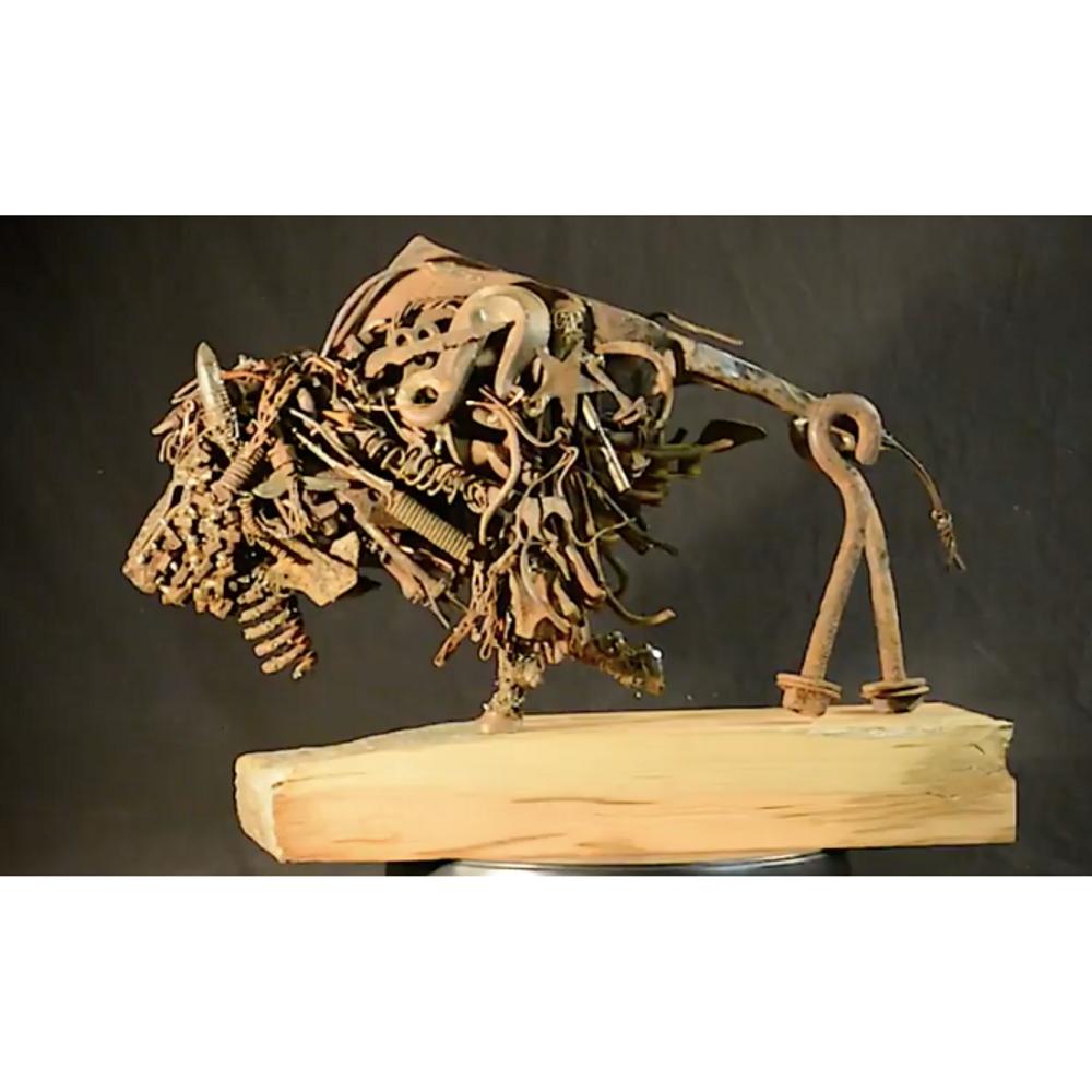 "Bison Metal and Wood Sculpture ""Drifter"" | Frank Cole Art | FCSD"