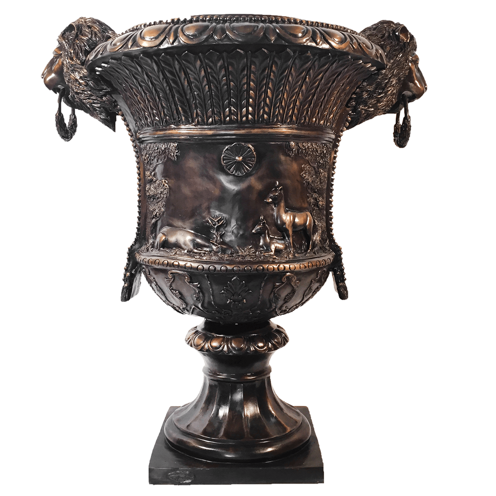 Lion Bust Bronze Planter Urn   Metropolitan Galleries   MGISRB45186