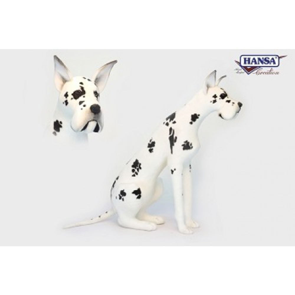 Harlequin Great Dane Stuffed Animal | Plush Dog Statue | Hansa Toys | HTU3762