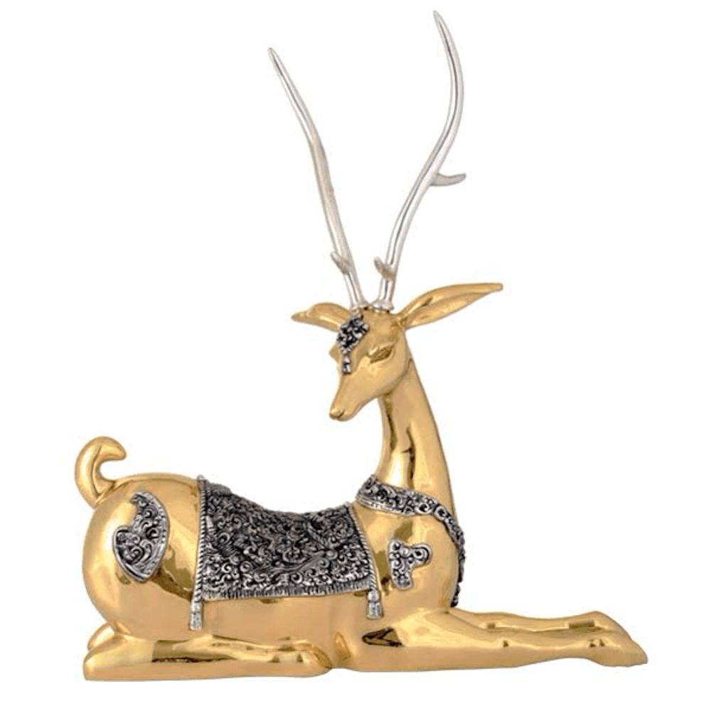 Thai Deer Facing Left Silver Plated Sculpture   6017   D'Argenta