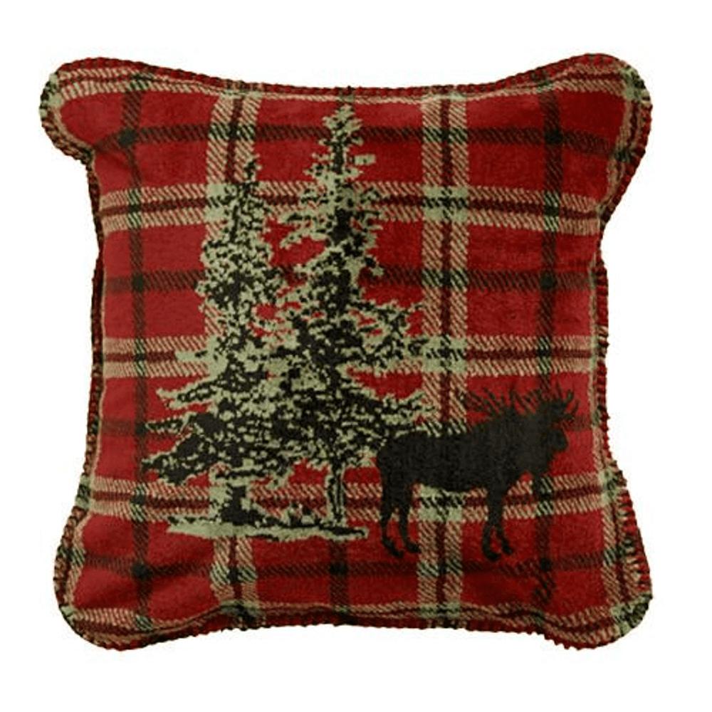 Moose Plaid Border Throw Pillow   Denali   DHC35064218