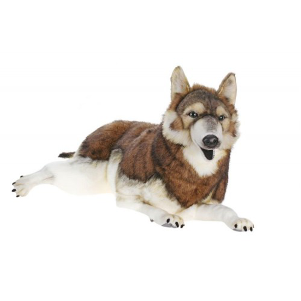 Timber Wolf Laying Large Stuffed Animal | Plush Wolf | Hansa Toys | HTU5510