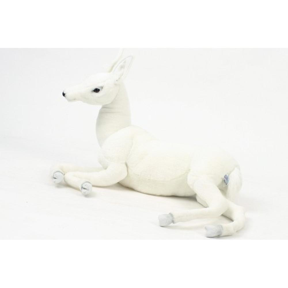 White Reindeer Baby Laying Stuffed Animal | Plush Reindeer Toy | Hansa Toys | HTU5934