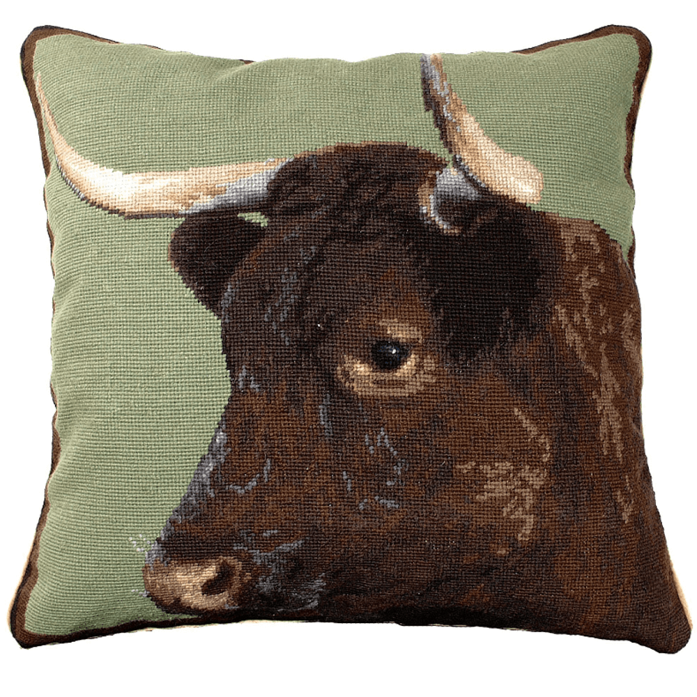 Cow Needlepoint Down Throw Pillow | Michaelian Home | MICNCU198