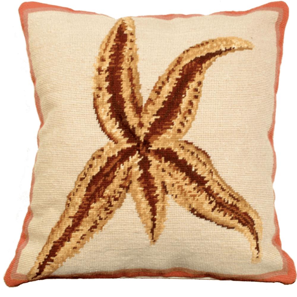 Starfish Needlepoint Down Throw Pillow | Michaelian Home | MICNCU805