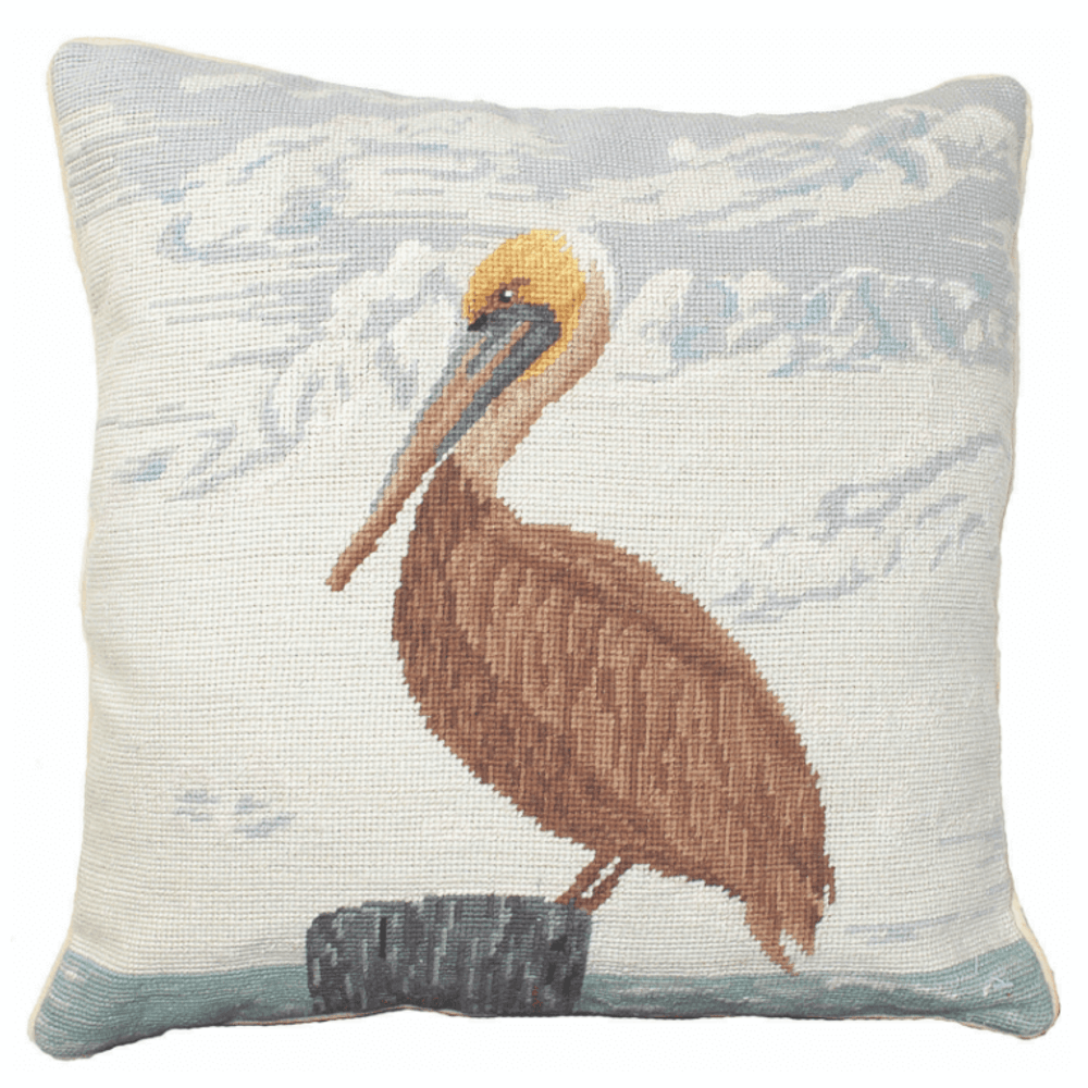 Pelican Needlepoint Down Throw Pillow   Michaelian Home   MICNCU821