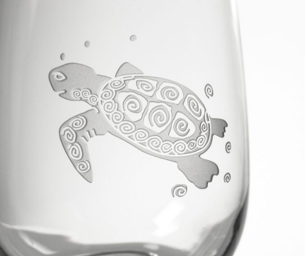 Sea Turtle White Wine Glass Set of 4   Rolf Glass   234427