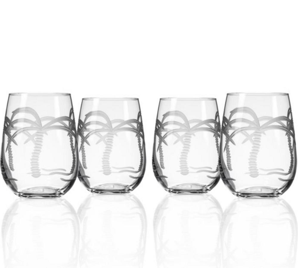 Palm Tree Stemless Wine Glass Set of 4 | Rolf Glass | 203331