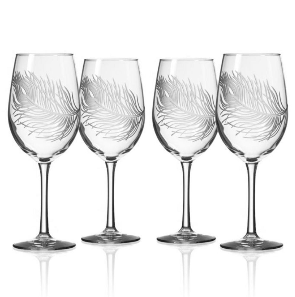 Peacock White Wine Glass Set of 4 | Rolf Glass | 204420