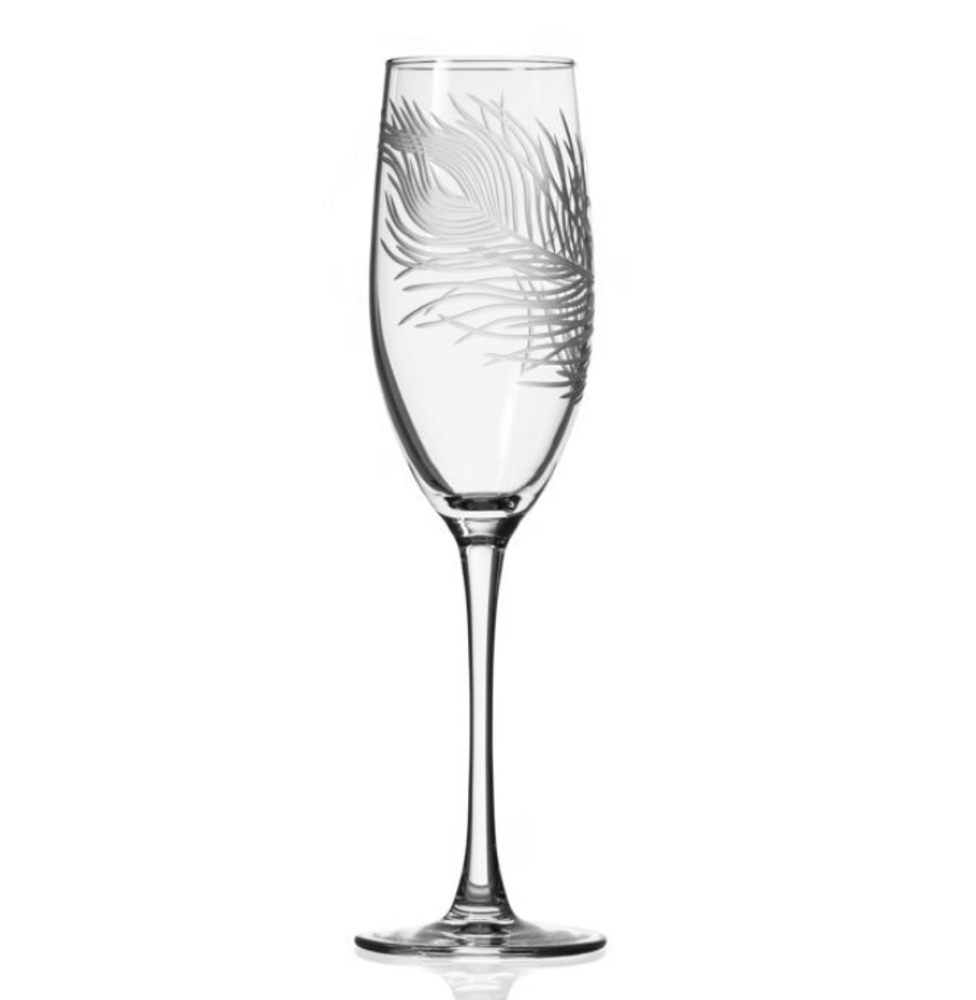 Peacock Engraved Glass Flute Set | Rolf Glass | 204451