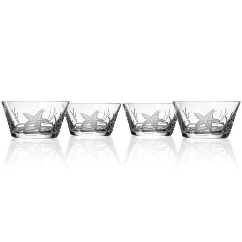 Starfish Engraved Glass Bowl Set of Four | Rolf Glass | 400211