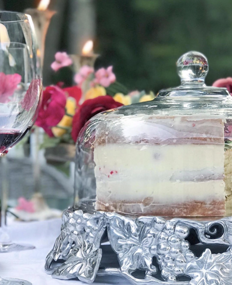 Grape Cake Stand with Glass Dome | Arthur Court Designs | 102856