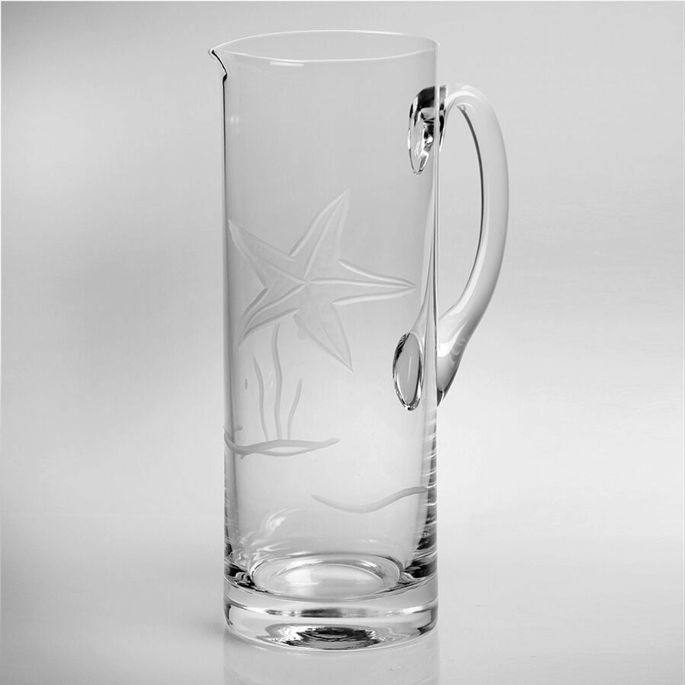 Starfish Engraved Glass Pitcher | Rolf Glass | 400716