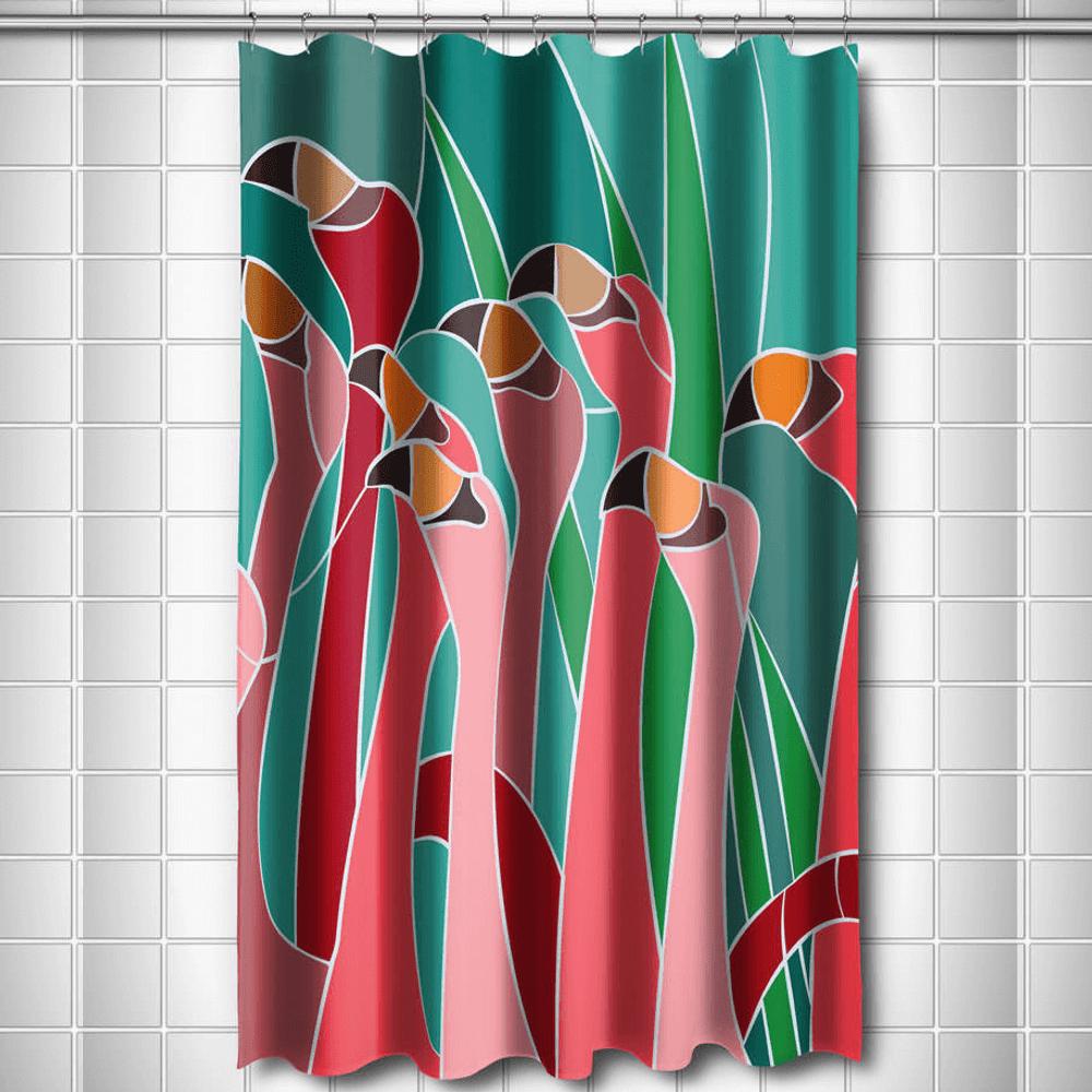 Flamingo Walk Shower Curtain   Island Girl Home   SC49 -2