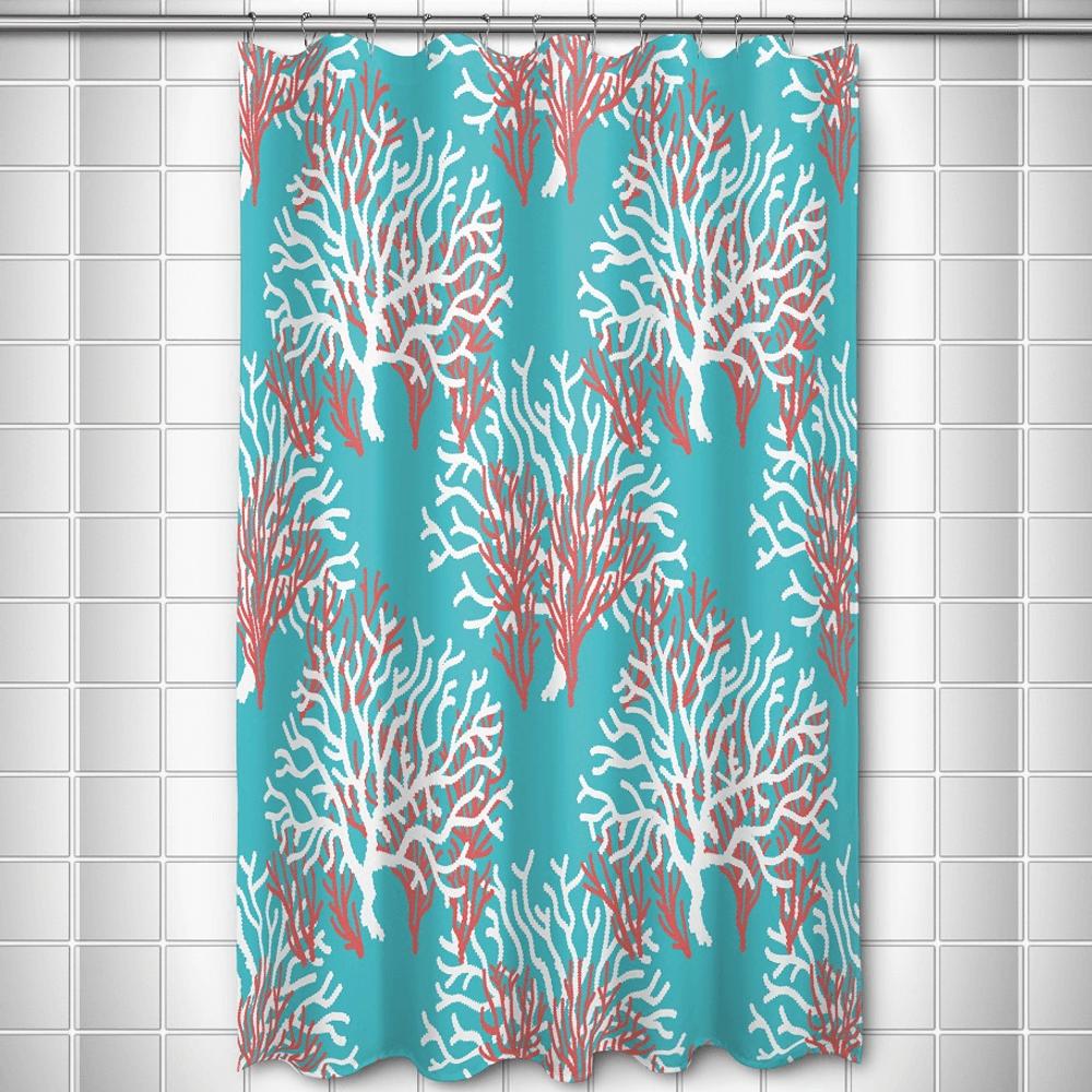Coral Shower Curtain Nassau | Island Girl Home | SC189