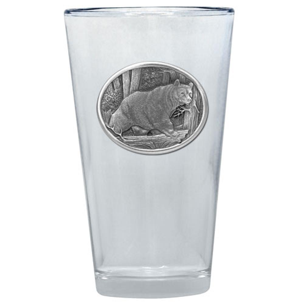 Black Bear Pint Glass Set of 2 | Heritage Pewter | PNT413