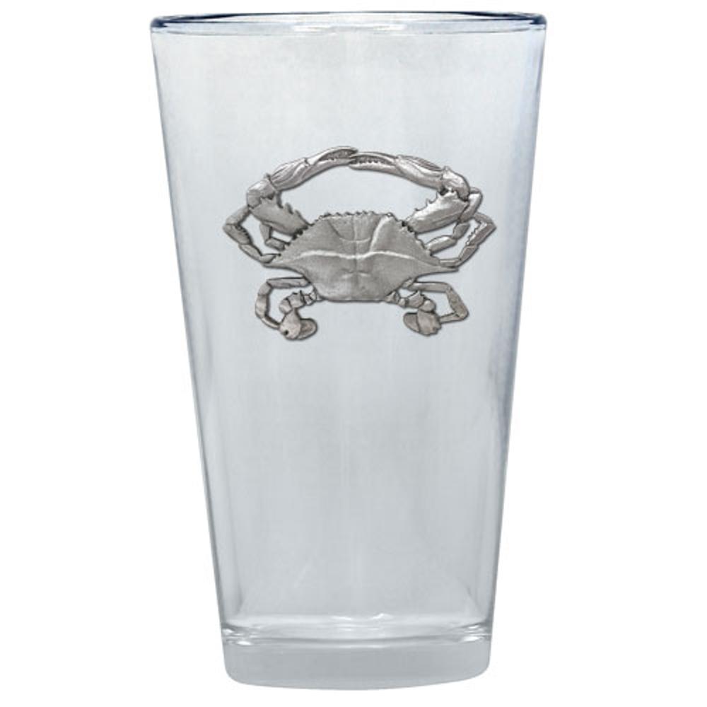 Blue Crab Pint Glass Set of 2 | Heritage Pewter | PNT4266