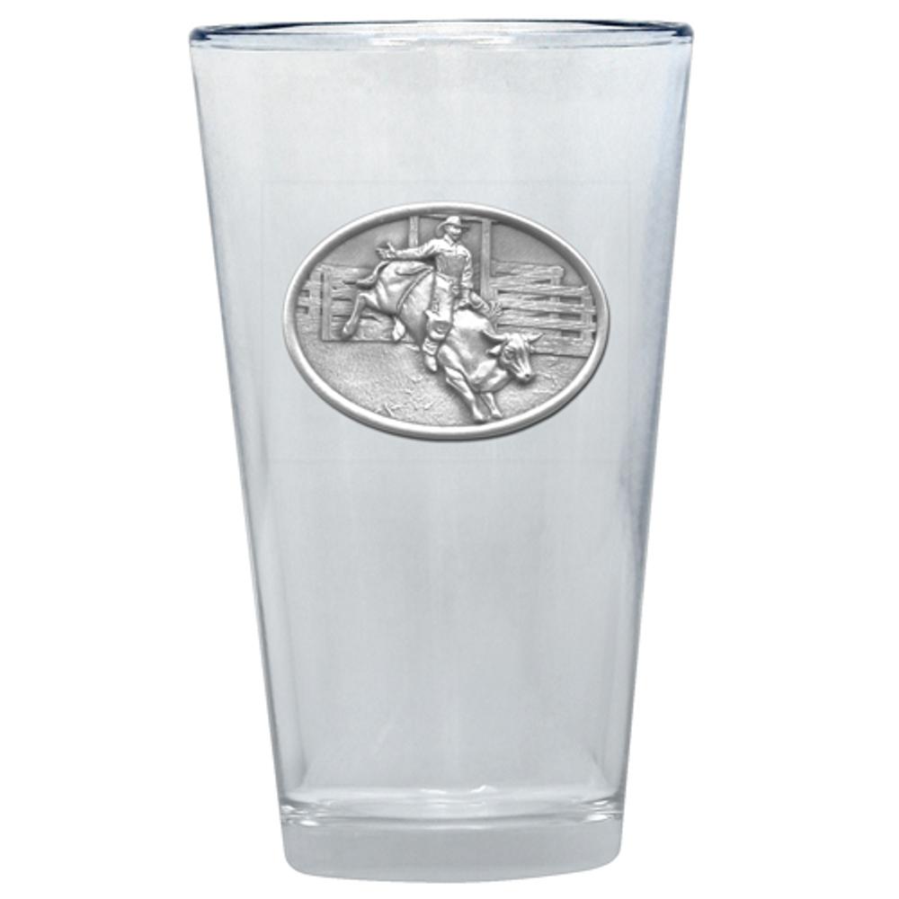Bullrider Pint Glass Set of 2   Heritage Pewter   PNT4246