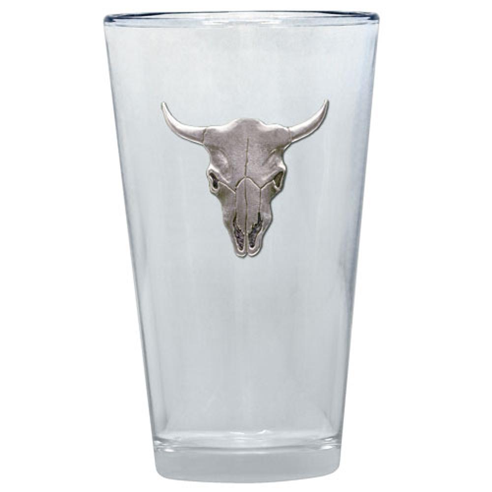 Longhorn Pint Glass Set of 2   Heritage Pewter   PNT3270