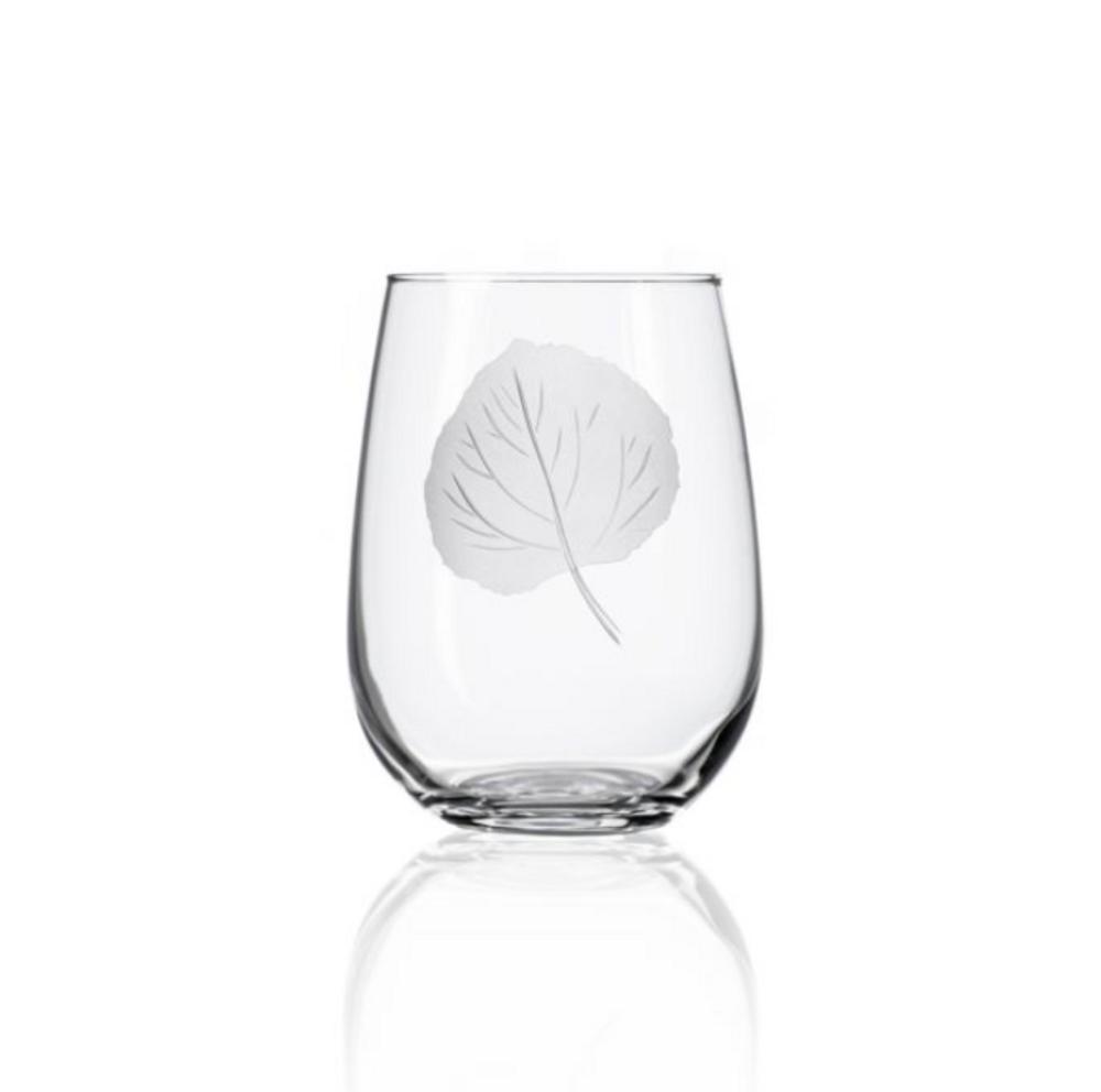 Aspen Leaf Stemless Wine Glass Set of 4   Rolf Glass   702339