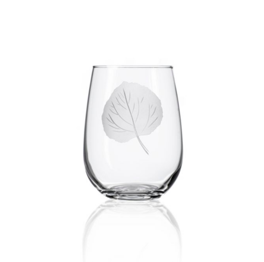 Aspen Leaf Stemless Wine Glass Set of 4 | Rolf Glass | 702339